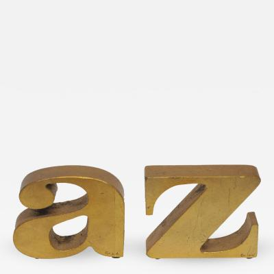 Curtis Jere C Jere Bookends Gilt Metal A to Z Signed USA 1970s