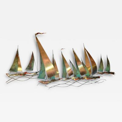 Curtis Jere Curtis Jere Sailboat Wall Sculpture 1971