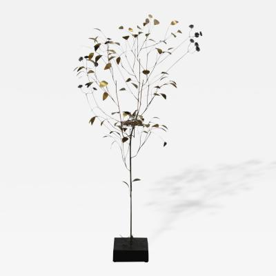 Curtis Jere Early Brass Floor Sculpture of Tree with Bird in Nest by Curtis Jere 1969
