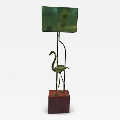 Curtis Jere Exceptional Signed Curtis Jere Brass Flamingo Sculptural Floor Lamp