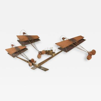 Curtis Jere Exceptional Signed Curtis Jere Brass Wall Sculpture of Airplanes and Airfield