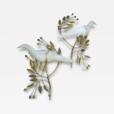 Curtis Jere Fantastic 1983 Onyx Doves on Olive Branches Wall Sculpture by Jere
