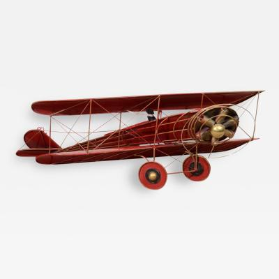 Curtis Jere Fantastic Red Enamel Biplane Wall Sculpture by Curtis Jere
