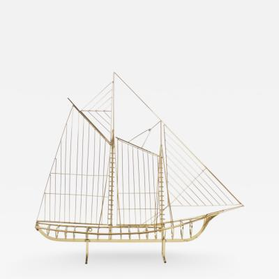 Curtis Jere Jere Brass Plated Sailboat Model