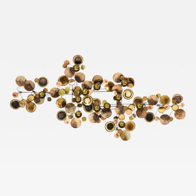 Curtis Jere Large Curtis Jere Raindrop Brass Wall Sculpture for Artisan House