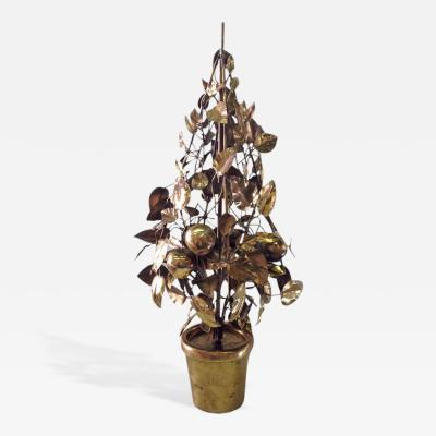 Curtis Jere Large Scale Brass Fruit Tree Lamp by Curtis Jere