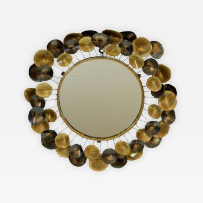 Curtis Jere Mixed Metal Mirror with Rosette Border in the Style of Curtis Jere