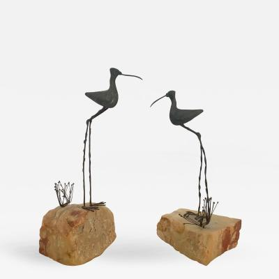 Curtis Jere Pair of Bird and Grass Bronze Sculpture on Rocks by C Jere