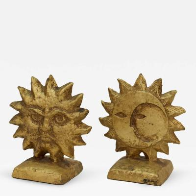 Curtis Jere Pair of Reversible Sun and Moon Curtis Jere Bookends