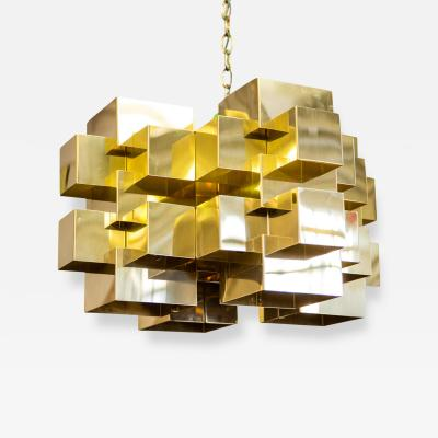 Curtis Jere Polished Brass Cubist Chandelier by Curtis Jere