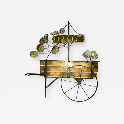 Curtis Jere Signed Curtis Jere Brutalist Flower Cart Wall Sculpture