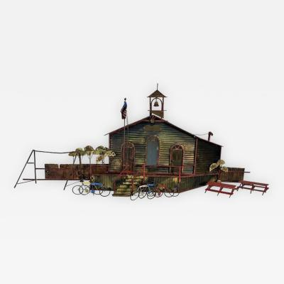 Curtis Jere Signed Curtis Jere School House Wall Sculpture