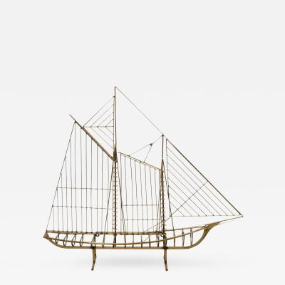 Curtis Jere Spectacular Modernist Sailboat Sculpture by Curtis Jere