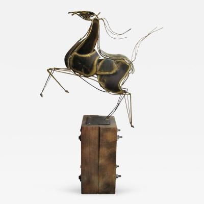 Curtis Jere Vintage Brutalist C Jere Rearing Horse Sculpture on Wood Block Base