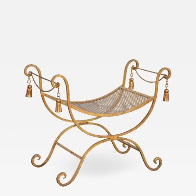 Curule or savonarola italian hollywood regency vanity stool with tassels