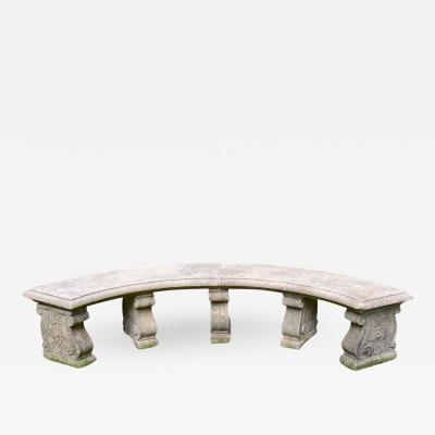 Curved Cast Stone Bench