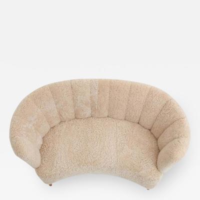 Curved Sheepskin Sofa Loveseat 1940s Denmark