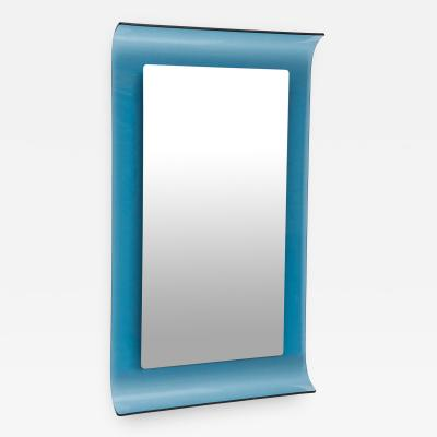 Curved blue crystal glass mirror