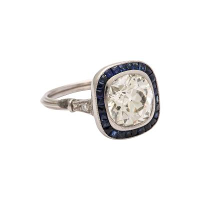 Cushion Cut 3 ct Diamond and Natural Sapphire Vintage Engagement Ring