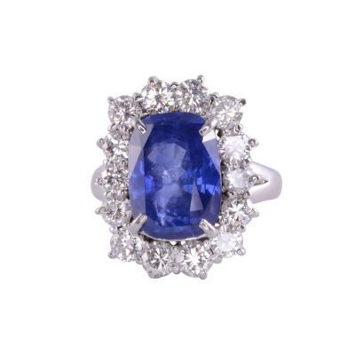 Cushion Cut Ceylon Sapphire Diamond Ring