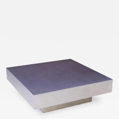 Custom Aluminum Geometric Square Coffee Table 1980s