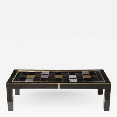 Custom Black Silver and Gold Murano Glass Coffee Table with Brass Inlays Italy