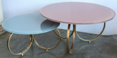 Custom Brass Coffee Table with Reverse Painted Glass Top