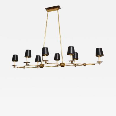 Custom Brass and Bronze Eight Arm Fixture in the Midcentury Manner