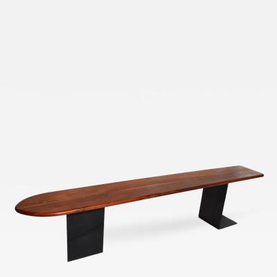 Custom California Studio Walnut and Steel Surfboard Bench