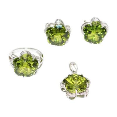 Custom Cut Flower Green Quartz Diamond Ring Pendant Earrings Set 14KT