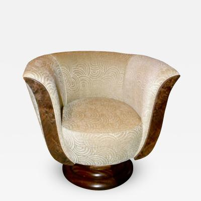 Custom French Art Deco Swivel Chairs