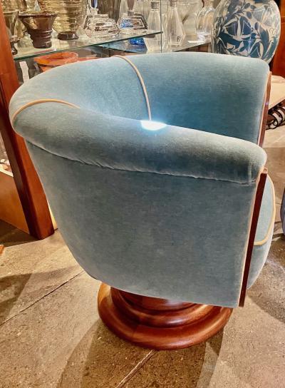Custom French Style Art Deco Swivel Chairs Mohair