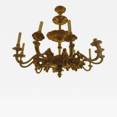 Custom Hand Carved Giltwood Eight Arm Chandelier in the Baroque Manner