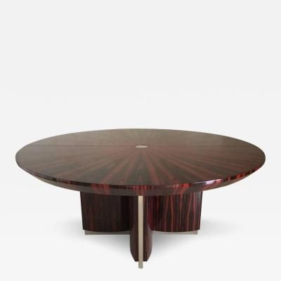 Custom Macassar Ebony Dining Table with Steel Insets