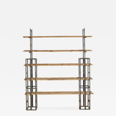 Custom Made Adjustable Industrial Style Steel and Wood Plank Etagere