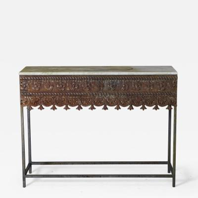 Custom Made Modern Garden Iron Console with Antique Iron Apron And Marble Top