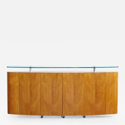 Custom Made Oval Sideboard on Casters with Glass Top
