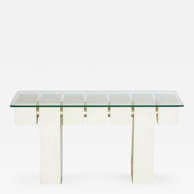 Custom Made White Console with Cubic Segments and Chrome Tube Connectors