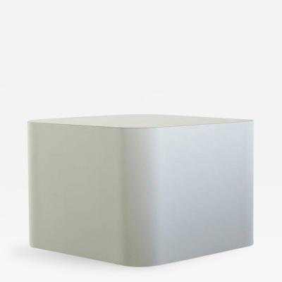 Custom Made White Laminate Cubic End Table or Pedestal Large