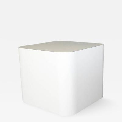 Custom Made White Laminate Cubic End Table or Pedestal Small