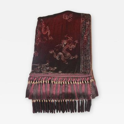 Custom Merlot Colored Stenciled Throw with Chinoiserie Design