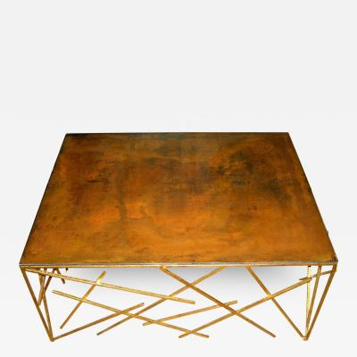 Custom Metal Criss Cross Design Cocktail Table