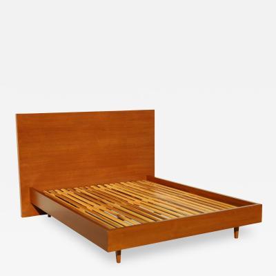 Custom Mid Century Modern Style Queen Size Bed in Walnut
