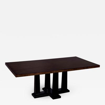 Custom Modern Walnut Dining Table with Sunburst Top