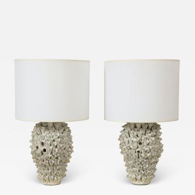 Custom Pair of Barnacle Ceramic Lamps