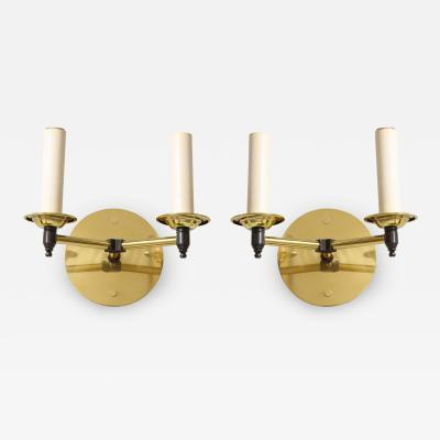 Custom Pair of Two Arm Brass Sconces in the Midcentury Manner