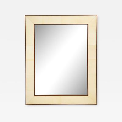 Custom Parchment Mirror With Mahogany Frame