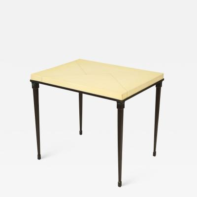 Custom Parchment Top Table with Iron Base