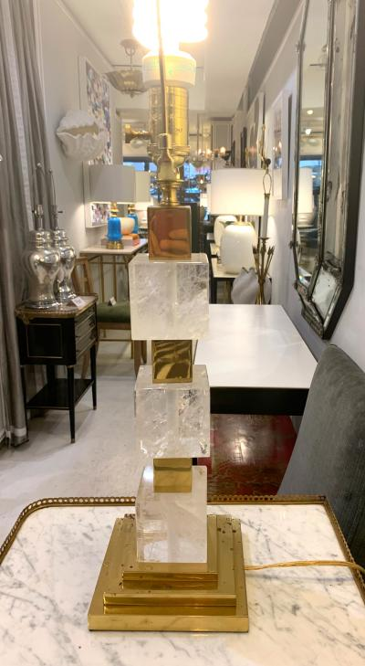 Custom Rock Crystal and Bronze Column Lamp