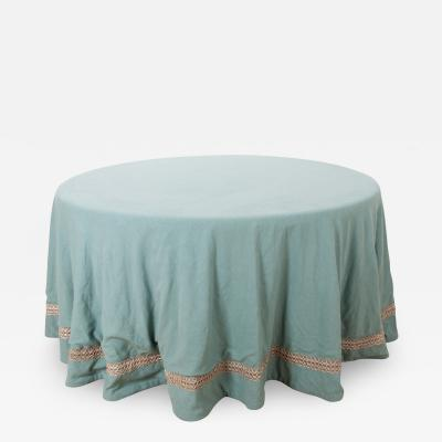 Custom Table Skirt with Antique French 19th Century Trim